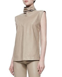 Helmut Lang Tilt Leather Top Tan