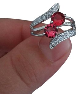 Helzberg Diamonds Majestic 14K White Gold Red & White Fine Gemstone Open Wave Ring