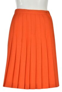 Henri Bendel Womens Textured Pleated Knee Length Casual Skirt Orange