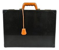 Hermès Graphite Carbon Fiber 18k Gold Plated Attache Briefcase Laptop Bag