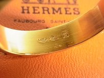 Hermès Auth HERMES Dot Design Gold Plated Scarf Ring With Box FROM JAPAN F/S 5774eRN