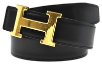 Hermès AUTHENTIC HERMES CONSTANCE REVERSIBLE H LOGOS BUCKLE BELT BLACK GOLD #65 W24937