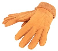Hermès Authentic HERMES Gloves Suede Leather Fur Orange Size 6 1/2 F/S 8959eRN