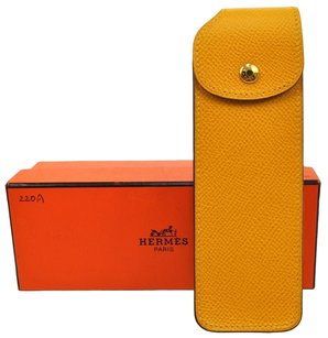 Hermès AUTHENTIC HERMES MULTI CASE POUCH COUCHEVEL LEATHER YELLOW VINTAGE FRANCE H02247