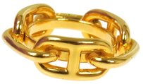 Hermès Authentic HERMES Vintage Logos Scarf Ring Gold-Tone Accessories A04848