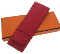 Hermès AUTHENTIC HERMES VINTAGE PENCIL CASE LEATHER PINK FRANCE NR02090