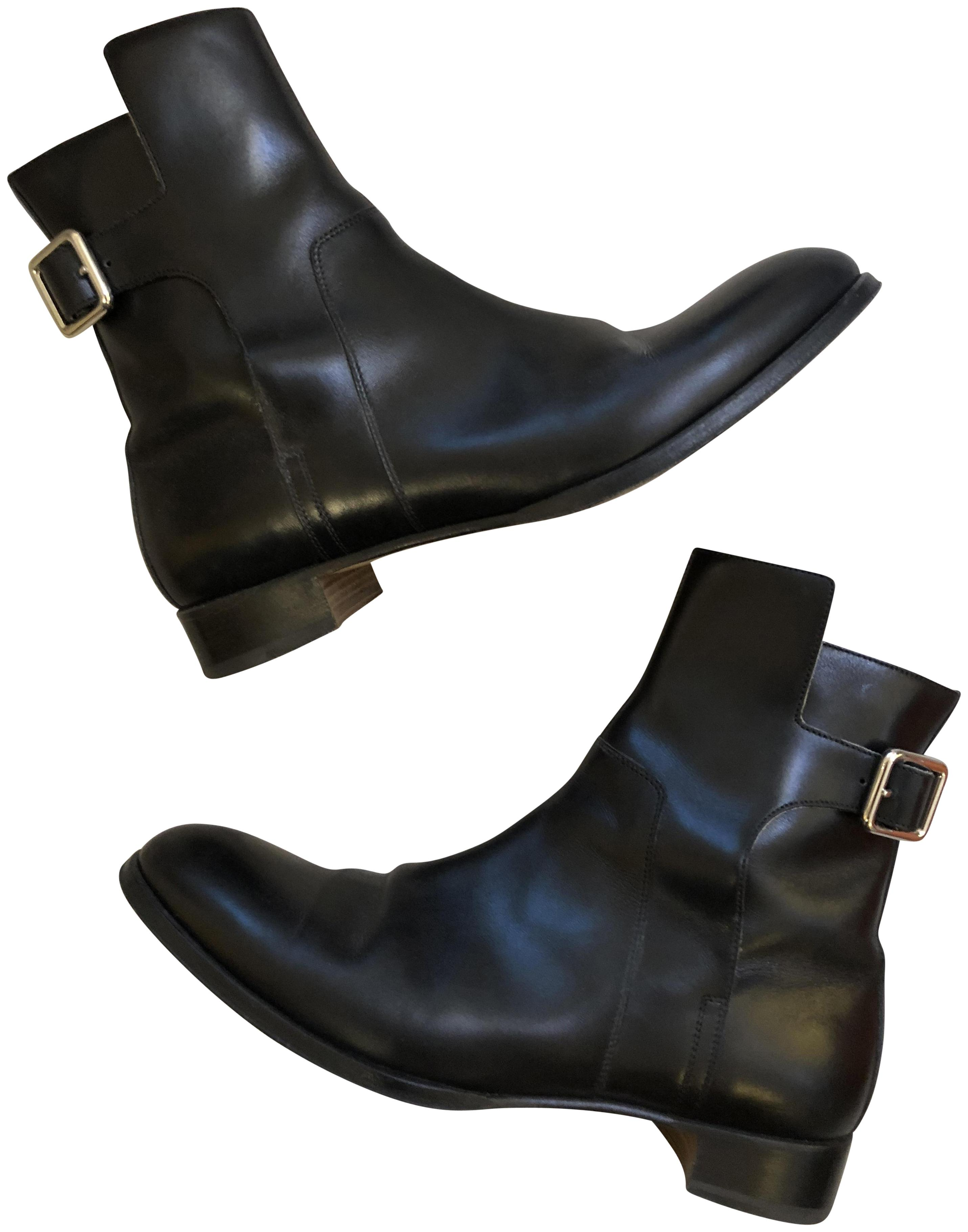Hermès Black Leather Ankle with Buckle Boots/Booties Size US 9 Regular (M, B)