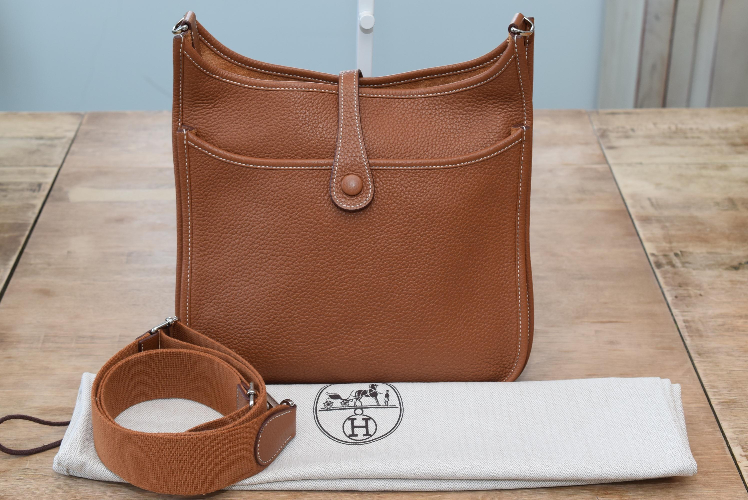 4bb81fcc925 ... france hermès evelyne 111 with adjustable strap in tan leather cross  body 2cc0f ea024 ...