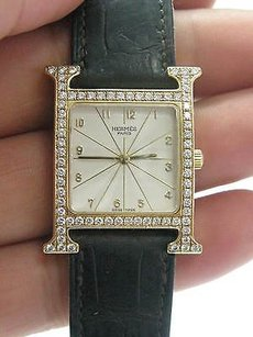 Hermès Hermes 18kt H Diamond Yellow Gold Watch Hh1.586