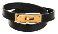 Herms Hermes Black Leather Kelly Double Tour Bracelet