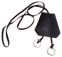 Hermès Hermes Black Leather Long Necklace and Key Chain Clochette