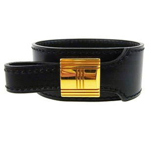 Hermès HERMES Bracelet Bangle Leather Black Gold