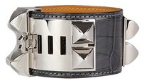 Herms Hermes Collier De Chien CDC Croc Black Cuff Bracelet