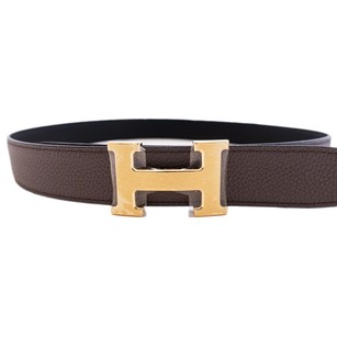 Hermès Hermes Etain Grey Black Reversible Constance Silver Belt Kit 32mm 85cm Classic