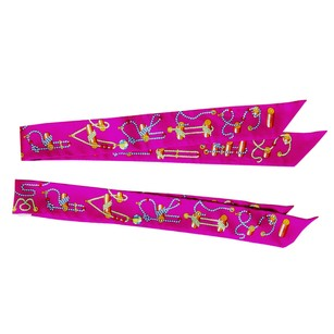 Hermès Hermes Fuchsia Cordages Silk Twilly Set Twillies Scarf Sold Out Color