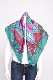 Hermès Hermes Green Purple Pink Festival Des Amazones Silk Twill Square Scarf