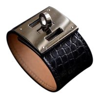 Herms Hermes Kelly Extreme Matte Crococile Black Cuff Bracelet SHW