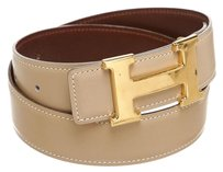 Hermès Hermes Taupe Leather Constance H Belt (Size 70)