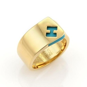 Hermès Hermes Turquoise Logo H Band Ring In 18k Yellow Gold -