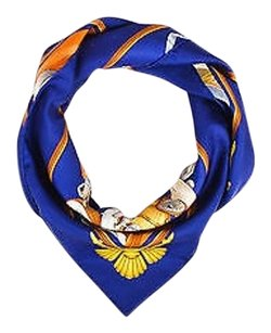 Herms Hermes Navy Multicolor Silk Printed Automobile Scarf