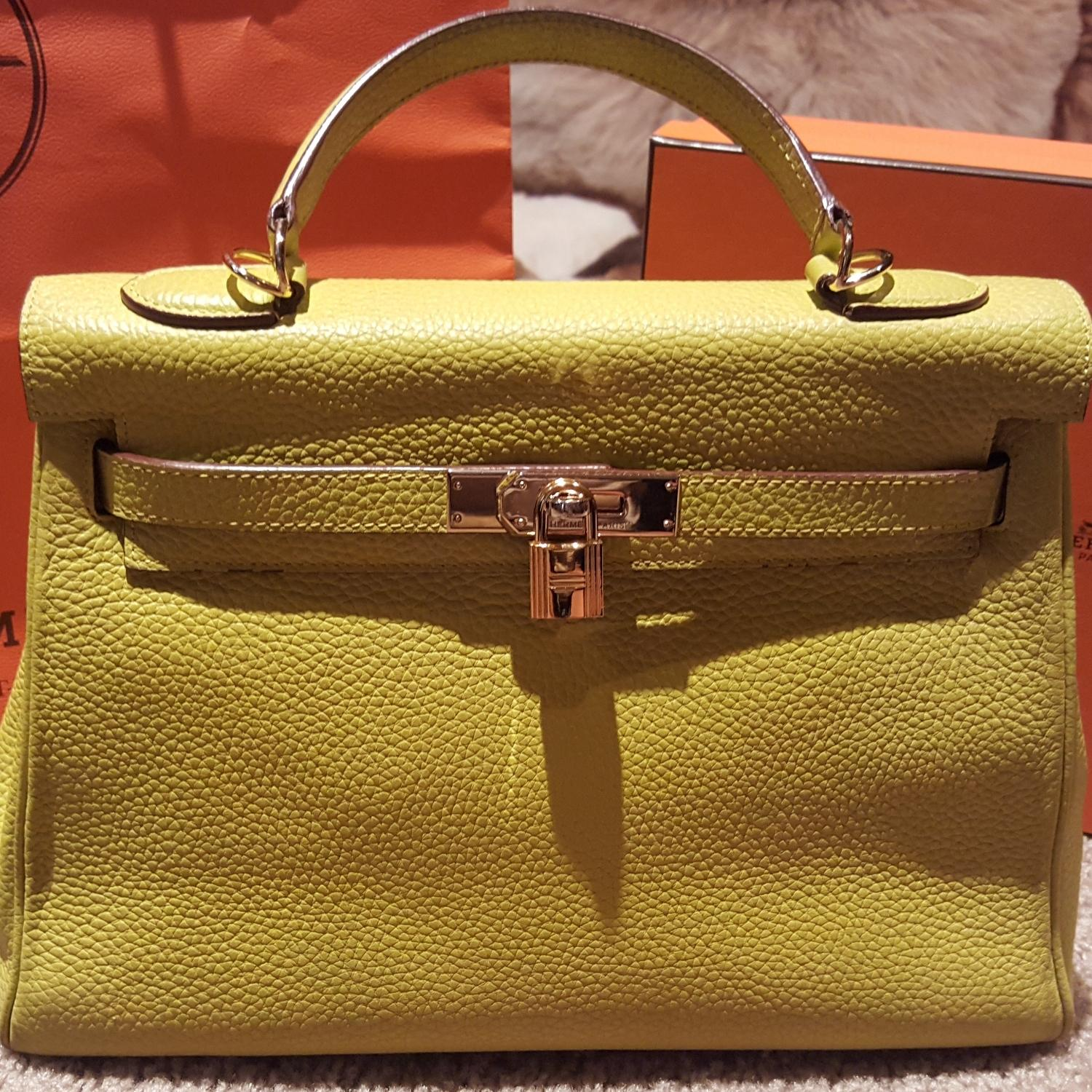 275b5e867b334 ... gold hardware 4644f ff8bf  greece hermès kelly clemence 32 retourne  lime yellow buffalo sindhu leather satchel tradesy a3340 67df5