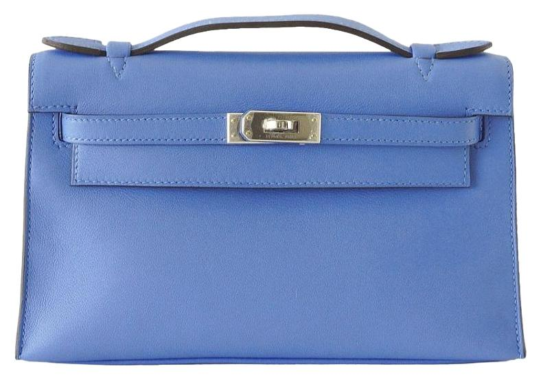 2a4bce59006 ... france hermès kelly pochette leather paradis palladium blue clutch  15c3c 46468