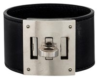 Hermès Palladium Black leather Hermes Kelly Dog Bracelet M Medium F 2002