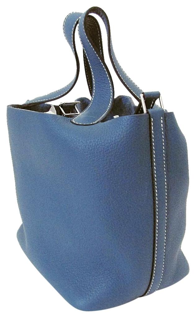 f030dd70f236 ... uk hermès leather picotin tote in blue 52972 9be10
