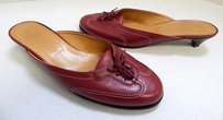 Herms Hermes Deep Leather Mule Red Mules
