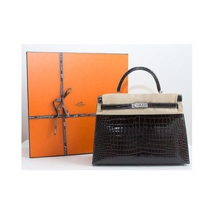 Hermès Graphite Crocodile Rigid Kelly 35cm Handbag Nickeled Copper Rare Shoulder Bag