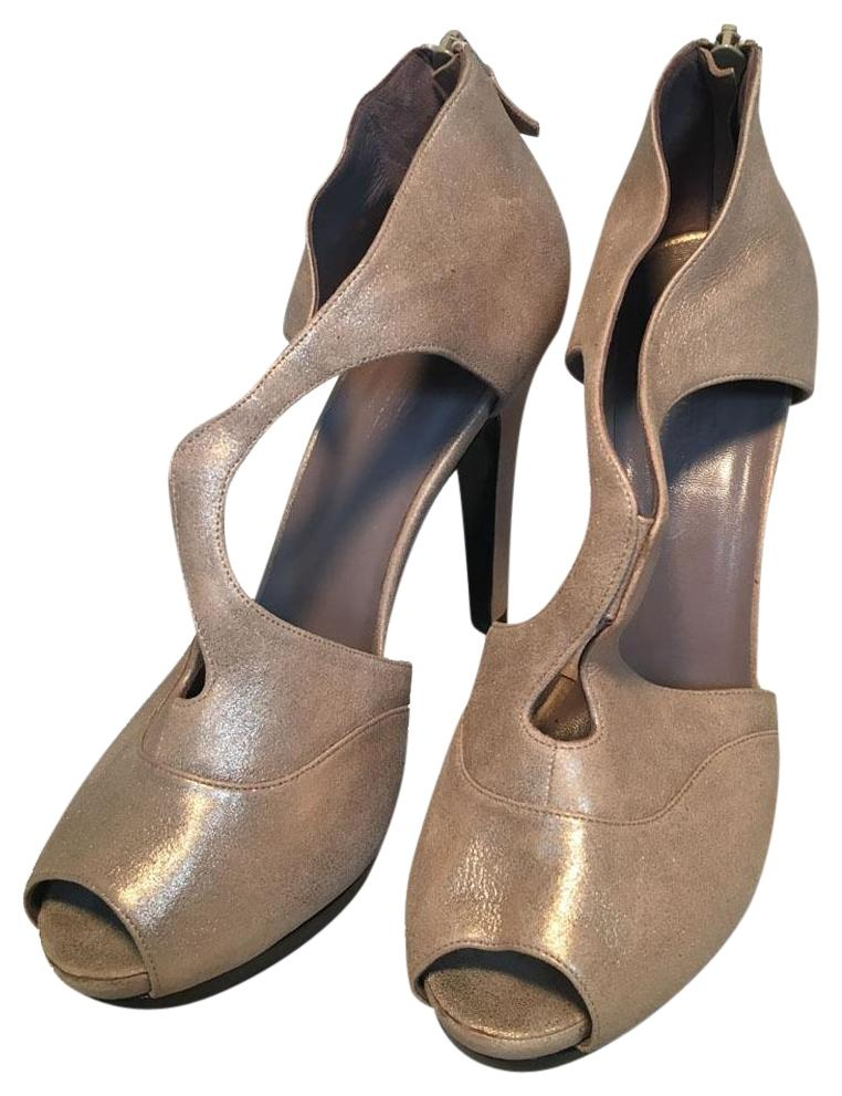 Hermès Tan Shimmery Golden Leather Strappy High Heels Pumps Size EU 38 (Approx. US 8) Regular (M, B)