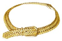 Hermès Vintage HERMES 1930's Woven 18k Yellow Gold Buckle Collar Choker Necklace