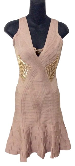 Hervé Leger Holidays Nude&gold Stunner Dress