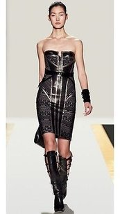 Hervé Leger Zeva Strapless Gunmetal Chain Leather Bandage Dress