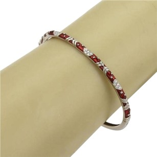 Hidalgo Hidalgo Pave Diamonds Red Enamel 18k White Gold Chevron Design Bracelet