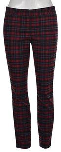 Hinge Womens Raspberry Red Casual Plaid Straight Leg Trousers Pants