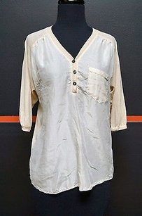 Hinge Rayon Blend 34 Sleeve Sheer Front Awesome 10138 Top Beiges