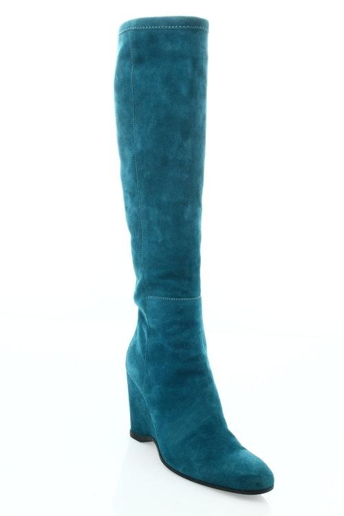 suede knee high turquoise boots on tradesy