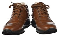 Hogan Womens Lace Up Sneakers Leather Casual Walking Brown Flats