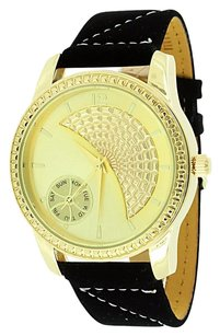 Ice Mania Mens Gold Finish Watch Back Leather Strap Ice Mani Stainless Steel Case Jojino