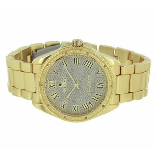 IceTime Ice Time Watch Yellow Gold Tone Illusion Dial Genuine Diamonds Pave Roman Style