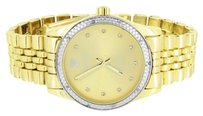 IceTime Icetime Watch Genuine Diamonds Mens Gold Dial Pave Set Yellow Gold Finish Mm