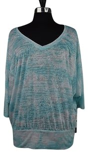 Ideology 40 44 Ideology Blue White Dolman Sleeve Burnout Banded Blouse 2xl