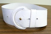 Il Bisonte Il Bisonte White Leather Logo Wide Belt Italy