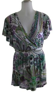 INC International Concepts Top White, Green & Purple