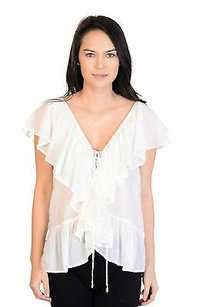 Indah Faith Ruffle Tie Front Top White
