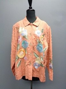 Indigo Moon Embroidered Long Sleeved Button Down Sm10000 Peach Jacket