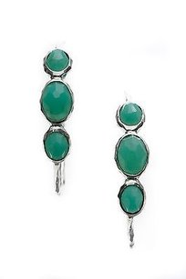 Ippolita Ippolita Sterling Silver Chrysoprase 3-stone Rock Candy Hoop Earrings