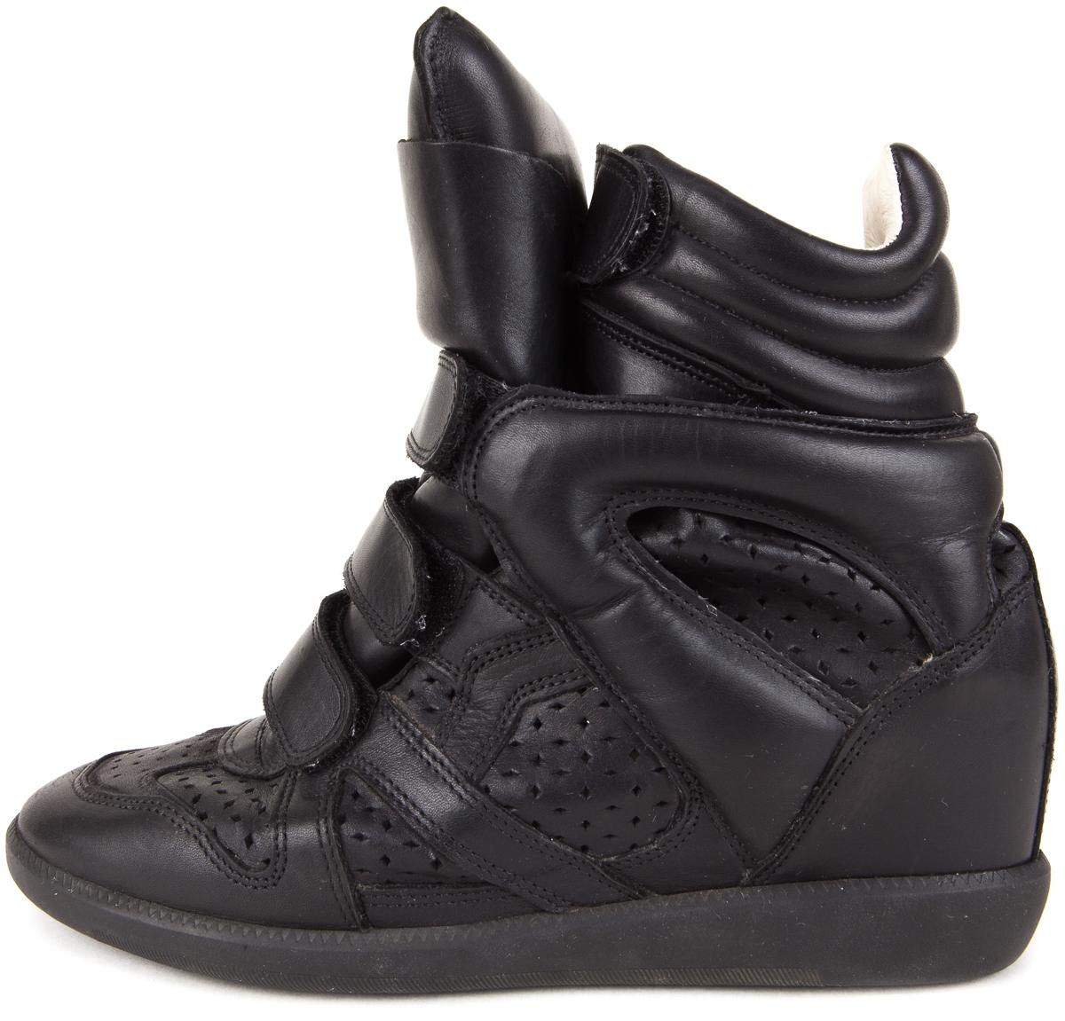"Isabel Marant Black Leather ""Bekett"" Hidden High Top Velcro Sneakers Wedges Size US 10 Wide (C, D)"