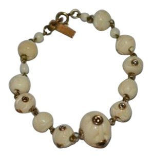 Isabel Marant Isabel Marant Brass Crystal Embelished Ivory Beads Lobster Clasp Bracelet